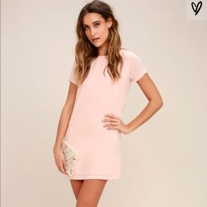 Lulus SHIFT AND SHOUT BLUSH PINK SHIFT DRESS